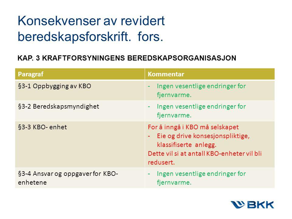 Konsekvenser av revidert beredskapsforskrift. fors.