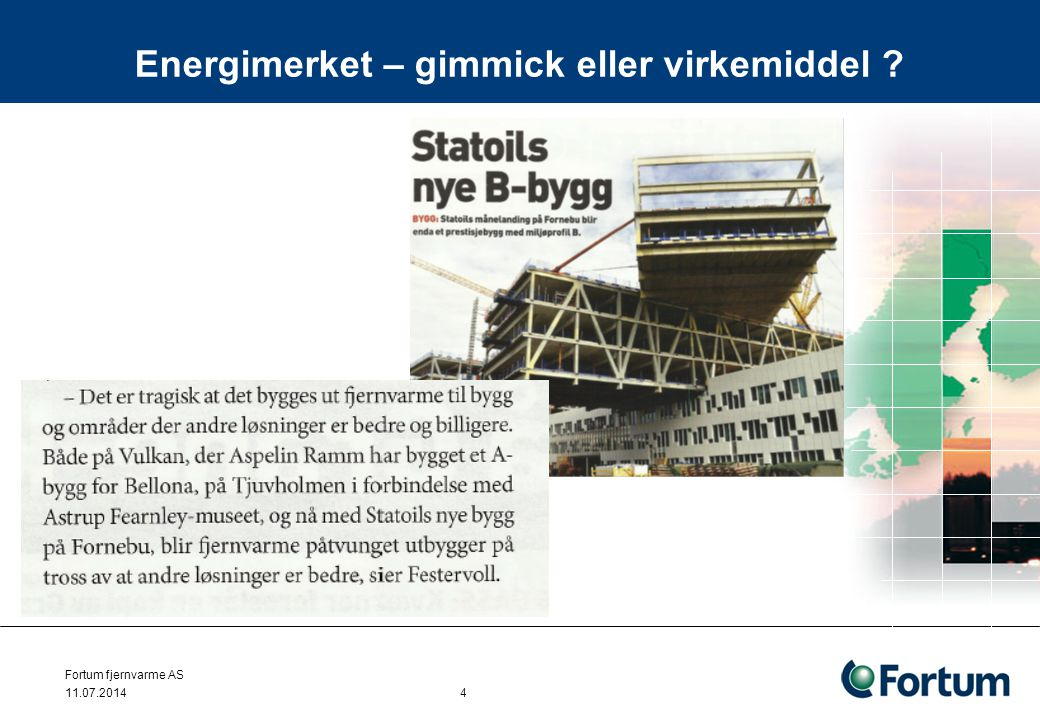 Bærum fjernvarme AS Energibehov kontorbygg 23 000 m2