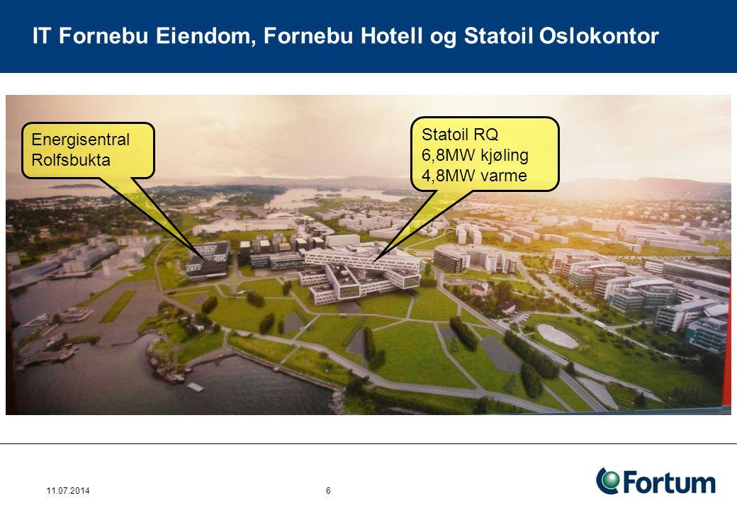 IT Fornebu Eiendom, Fornebu Hotell og Statoil Oslokontor 11.07.2014 6 Statoil RQ 6,8MW kjøling 4,8MW varme Energisentral Rolfsbukta