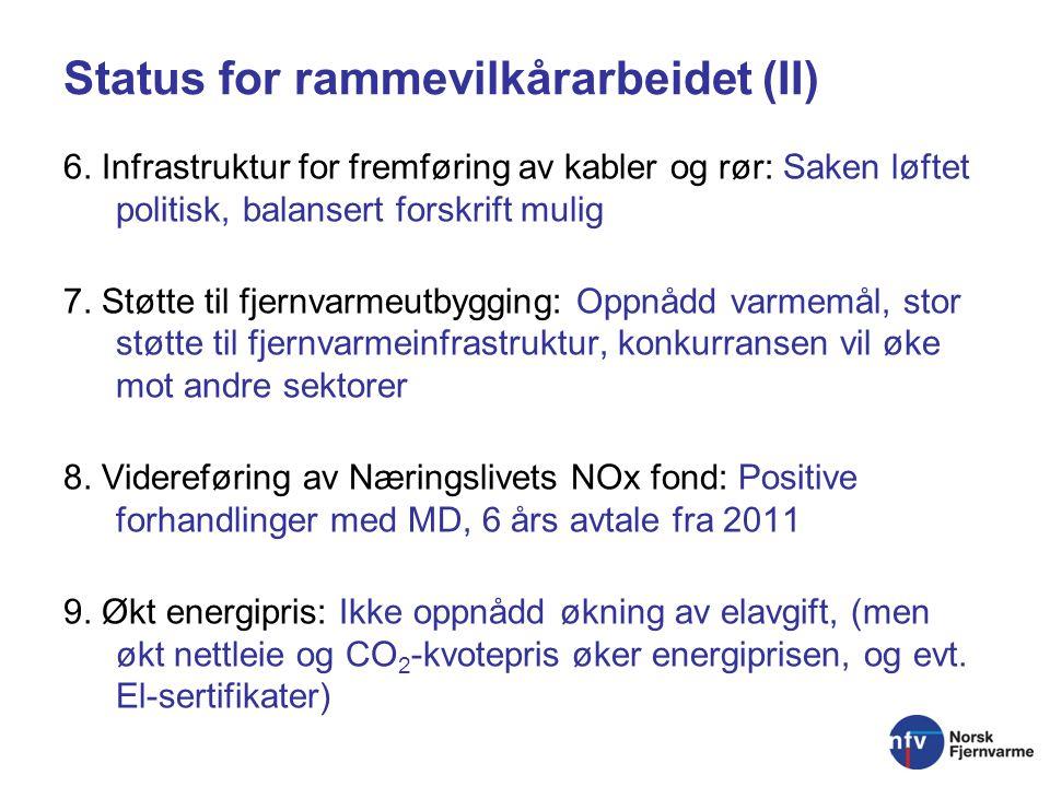 Status for rammevilkårarbeidet (II) 6.