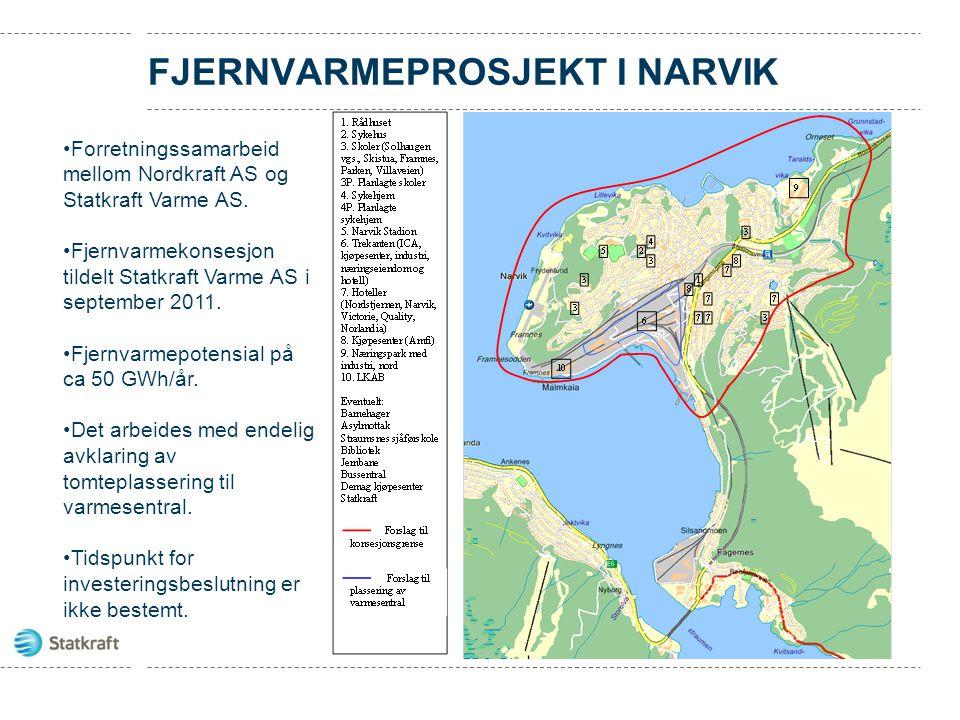 FJERNVARMEPROSJEKT I NARVIK Forretningssamarbeid mellom Nordkraft AS og Statkraft Varme AS. Fjernvarmekonsesjon tildelt Statkraft Varme AS i september