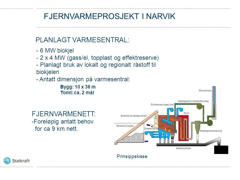 PLANLAGT VARMESENTRAL: Prinsippskisse - 6 MW biokjel - 2 x 4 MW (gass/el, topplast og effektreserve) - Planlagt bruk av lokalt og regionalt råstoff til biokjelen - Antatt dimensjon på varmesentral: Bygg: 10 x 36 m Tomt: ca.