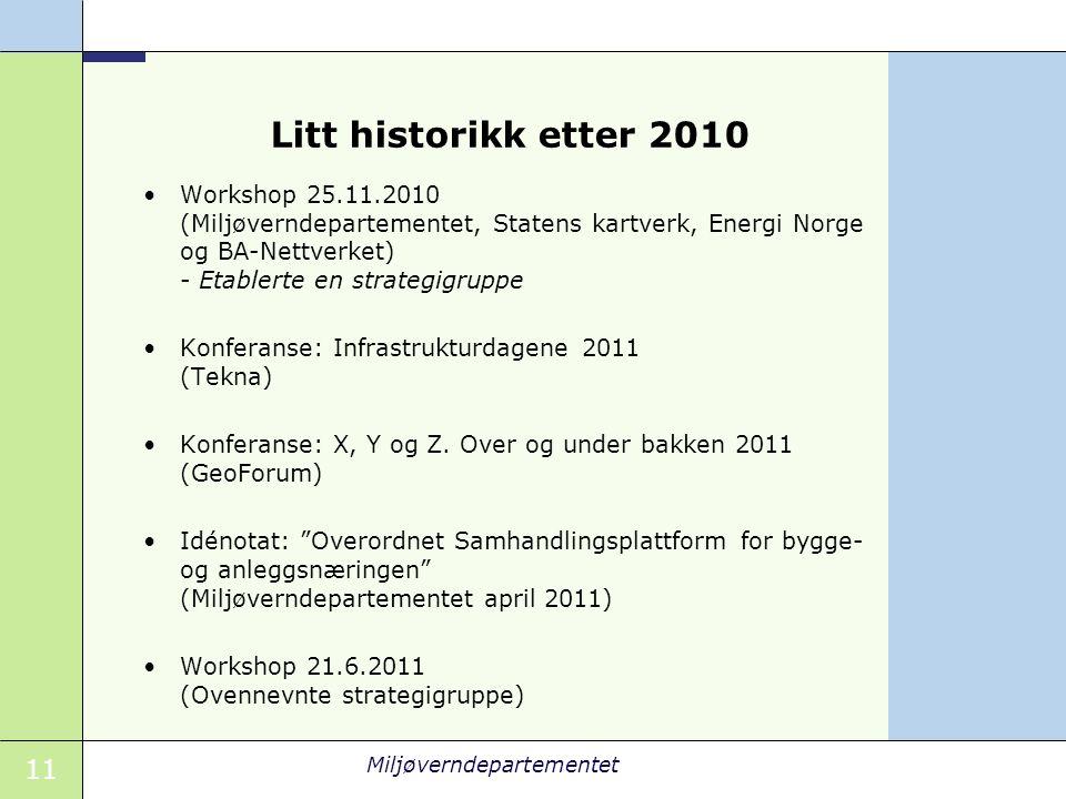 11 Miljøverndepartementet Litt historikk etter 2010 Workshop 25.11.2010 (Miljøverndepartementet, Statens kartverk, Energi Norge og BA-Nettverket) - Etablerte en strategigruppe Konferanse: Infrastrukturdagene 2011 (Tekna) Konferanse: X, Y og Z.