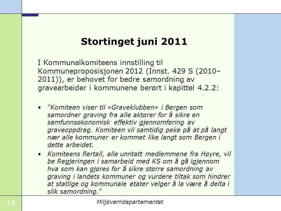 18 Miljøverndepartementet Stortinget juni 2011 I Kommunalkomiteens innstilling til Kommuneproposisjonen 2012 (Innst.