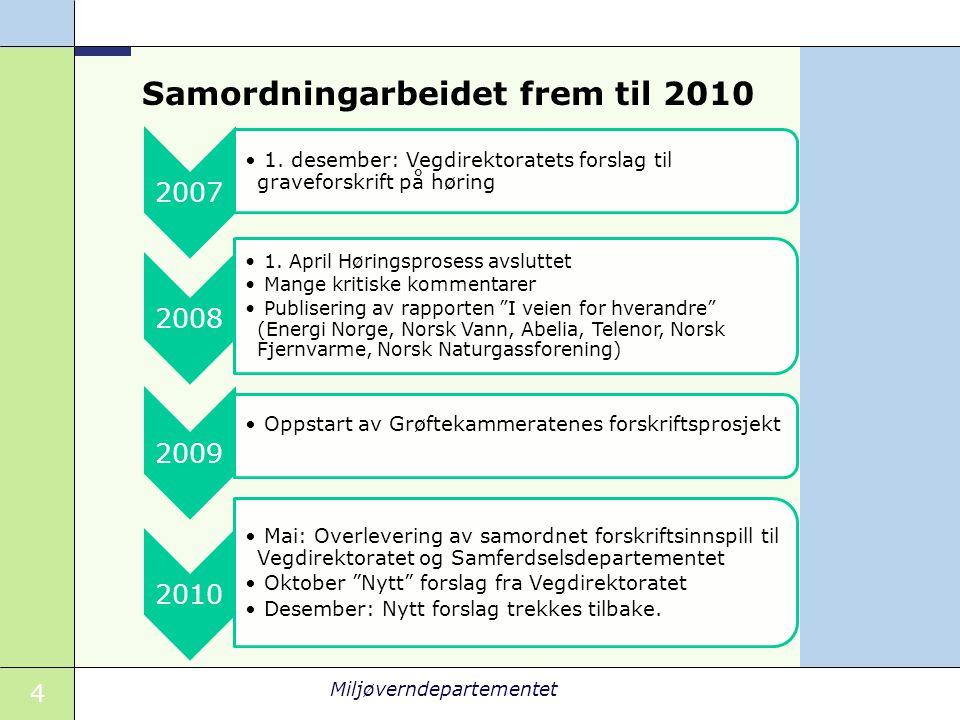 4 Miljøverndepartementet Samordningarbeidet frem til 2010 2007 1.
