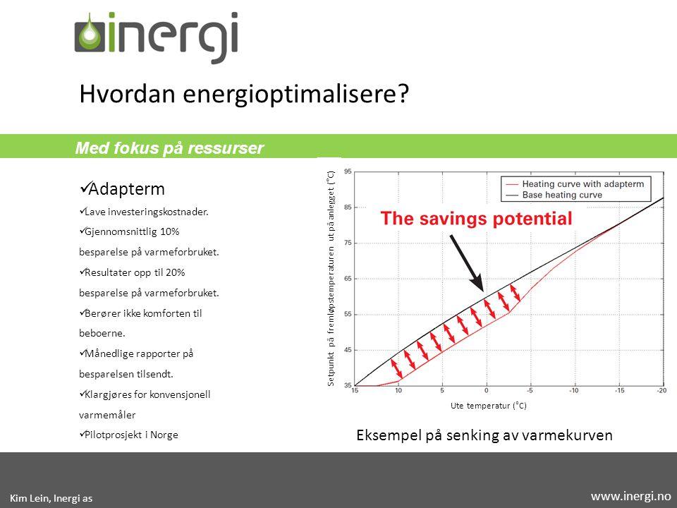 Med fokus på ressurser Hvordan energioptimalisere? Adapterm Lave investeringskostnader. Gjennomsnittlig 10% besparelse på varmeforbruket. Resultater o