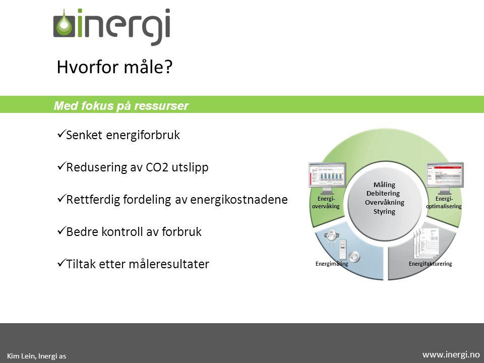 Med fokus på ressurser Senket energiforbruk Redusering av CO2 utslipp Rettferdig fordeling av energikostnadene Bedre kontroll av forbruk Tiltak etter måleresultater Hvorfor måle.