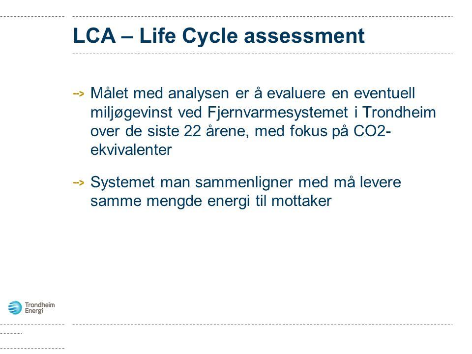 Målet med analysen er å evaluere en eventuell miljøgevinst ved Fjernvarmesystemet i Trondheim over de siste 22 årene, med fokus på CO2- ekvivalenter Systemet man sammenligner med må levere samme mengde energi til mottaker