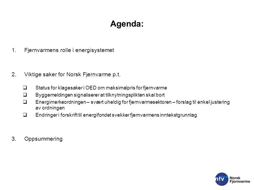 Agenda: 1.Fjernvarmens rolle i energisystemet 2.Viktige saker for Norsk Fjernvarme p.t.  Status for klagesaker i OED om maksimalpris for fjernvarme 