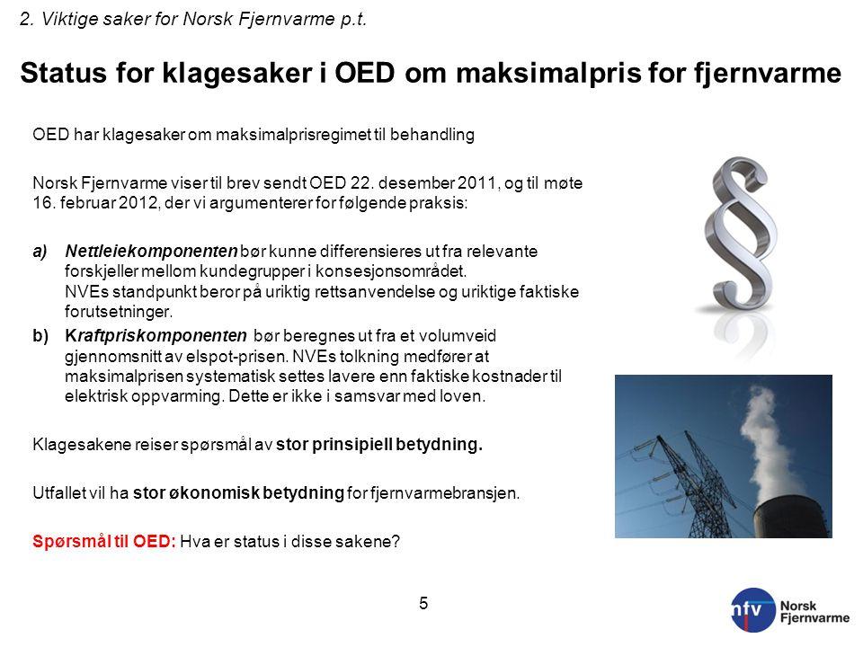Status for klagesaker i OED om maksimalpris for fjernvarme OED har klagesaker om maksimalprisregimet til behandling Norsk Fjernvarme viser til brev se