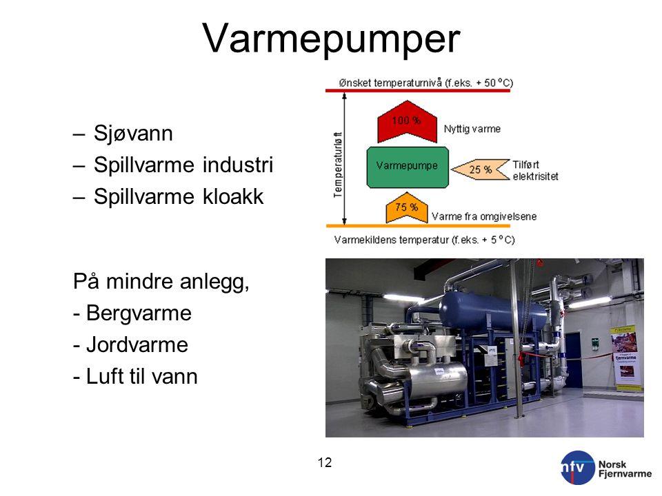 Varmepumper –Sjøvann –Spillvarme industri –Spillvarme kloakk På mindre anlegg, - Bergvarme - Jordvarme - Luft til vann 12