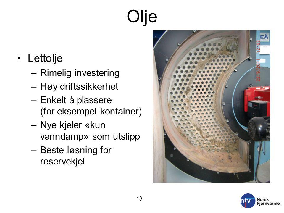 Olje Lettolje –Rimelig investering –Høy driftssikkerhet –Enkelt å plassere (for eksempel kontainer) –Nye kjeler «kun vanndamp» som utslipp –Beste løsning for reservekjel 13