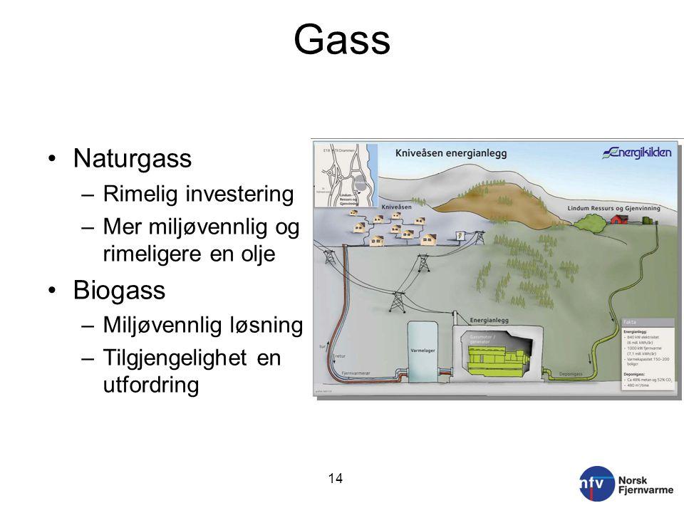 Gass Naturgass –Rimelig investering –Mer miljøvennlig og rimeligere en olje Biogass –Miljøvennlig løsning –Tilgjengelighet en utfordring 14