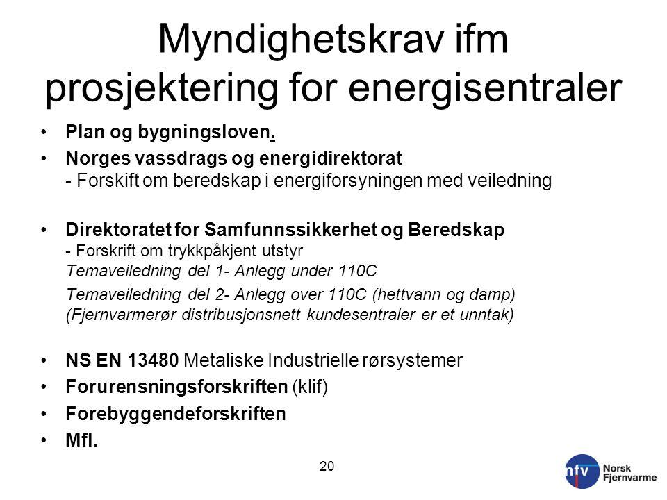 Myndighetskrav ifm prosjektering for energisentraler Plan og bygningsloven.