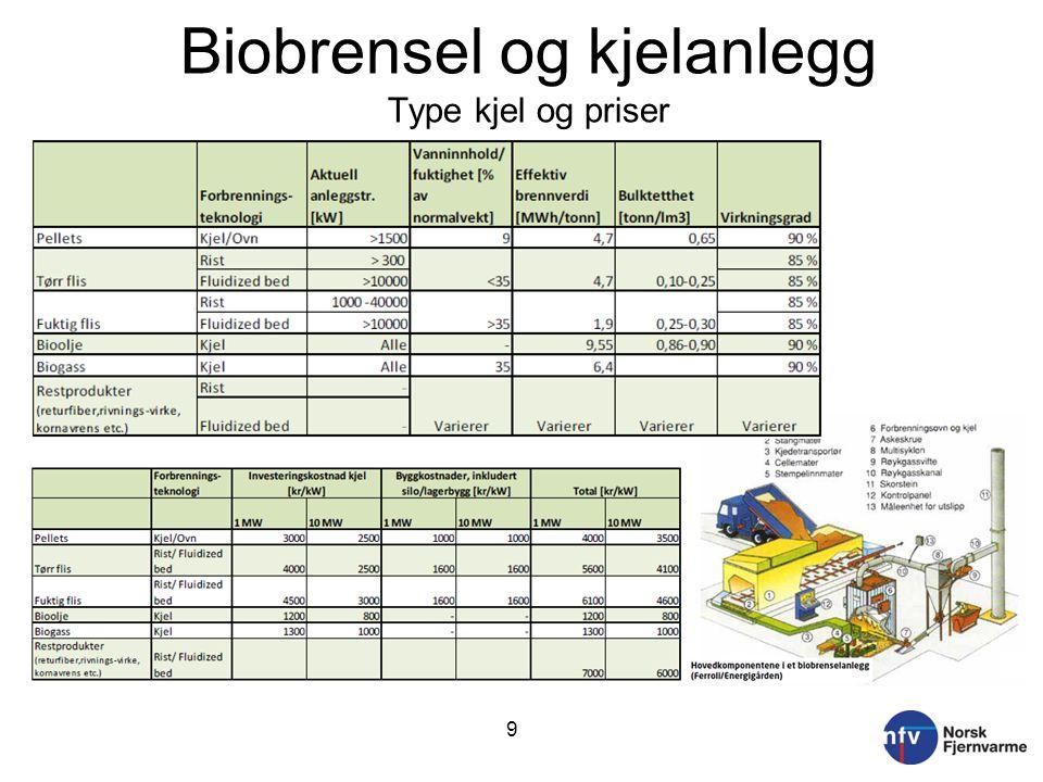 Biobrensel og kjelanlegg Type kjel og priser 9