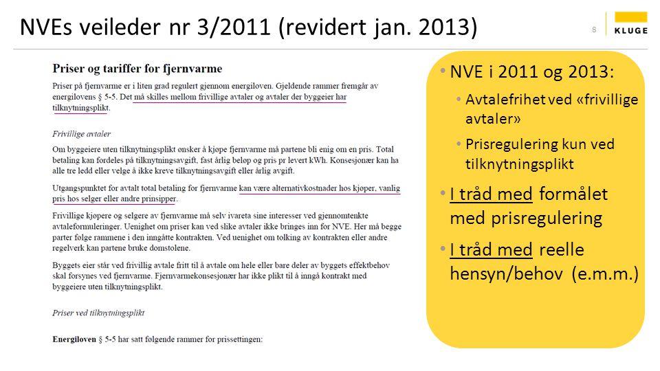 NVEs veileder nr 3/2011 (revidert jan. 2013) NVE i 2011 og 2013: Avtalefrihet ved «frivillige avtaler» Prisregulering kun ved tilknytningsplikt I tråd
