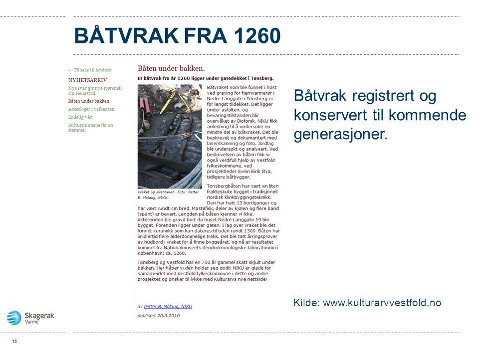 BÅTVRAK FRA 1260 15 Båtvrak registrert og konservert til kommende generasjoner. Kilde: www.kulturarvvestfold.no