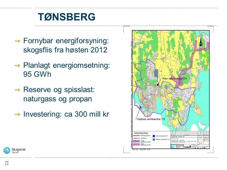 TØNSBERG Fornybar energiforsyning: skogsflis fra høsten 2012 Planlagt energiomsetning: 95 GWh Reserve og spisslast: naturgass og propan Investering: c