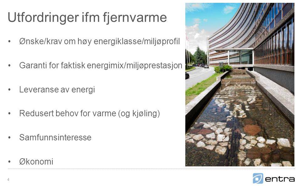 Ønske/krav om høy energiklasse/miljøprofil Garanti for faktisk energimix/miljøprestasjon Leveranse av energi Redusert behov for varme (og kjøling) Samfunnsinteresse Økonomi Utfordringer ifm fjernvarme 4