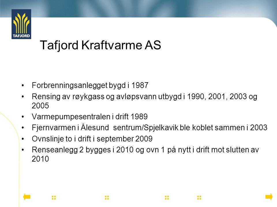 Tafjord Kraftvarme AS Forbrenningsanlegget bygd i 1987 Rensing av røykgass og avløpsvann utbygd i 1990, 2001, 2003 og 2005 Varmepumpesentralen i drift