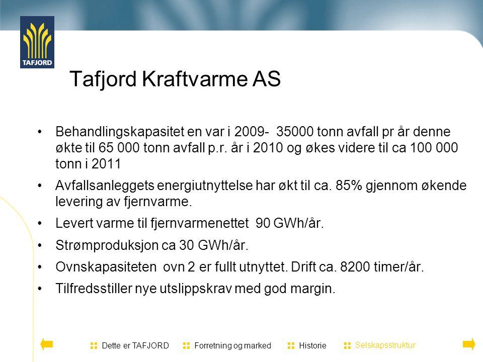 Tafjord Kraftvarme AS Behandlingskapasitet en var i 2009- 35000 tonn avfall pr år denne økte til 65 000 tonn avfall p.r. år i 2010 og økes videre til