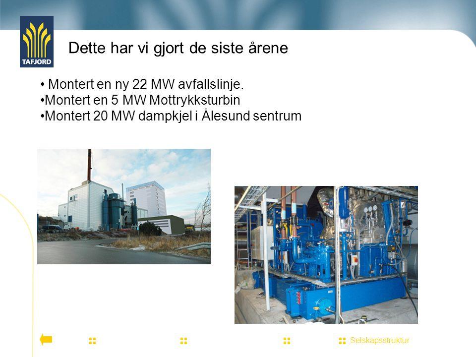 Dette har vi gjort de siste årene Selskapsstruktur          Montert en ny 22 MW avfallslinje. Montert en 5 MW Mottrykksturbin Montert