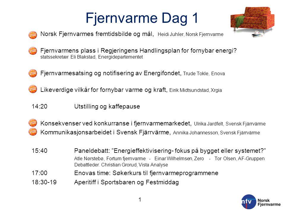 Fjernvarme Dag 1 o Norsk Fjernvarmes fremtidsbilde og mål, Heidi Juhler, Norsk Fjernvarme o Fjernvarmens plass i Regjeringens Handlingsplan for fornyb