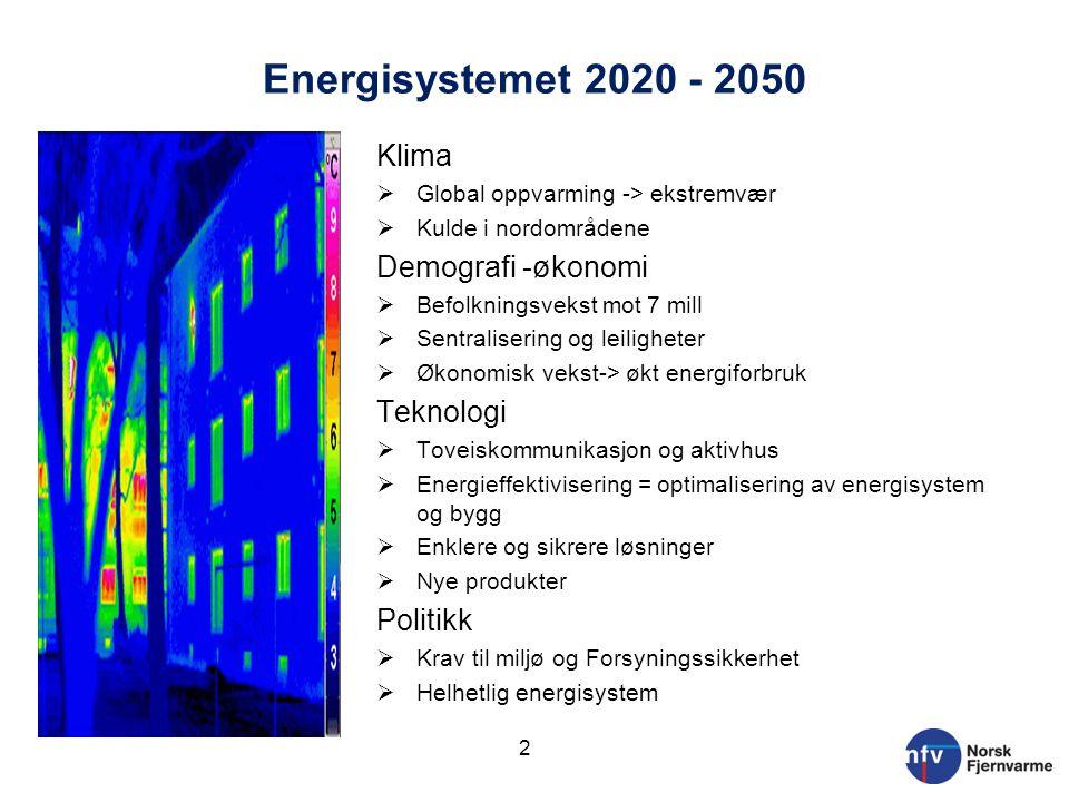Energisystemet 2020 - 2050 Klima  Global oppvarming -> ekstremvær  Kulde i nordområdene Demografi -økonomi  Befolkningsvekst mot 7 mill  Sentralis