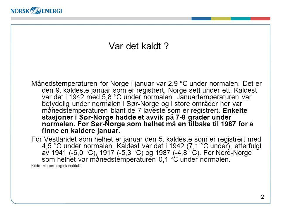 Var det kaldt ? 2 Månedstemperaturen for Norge i januar var 2,9 °C under normalen. Det er den 9. kaldeste januar som er registrert, Norge sett under e