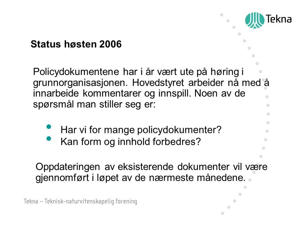 Status høsten 2006 Policydokumentene har i år vært ute på høring i grunnorganisasjonen.