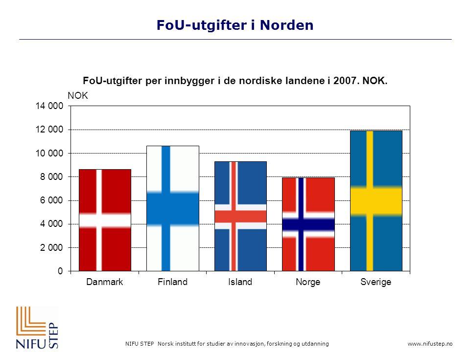 NIFU STEP Norsk institutt for studier av innovasjon, forskning og utdanning www.nifustep.no FoU-utgifter i Norden