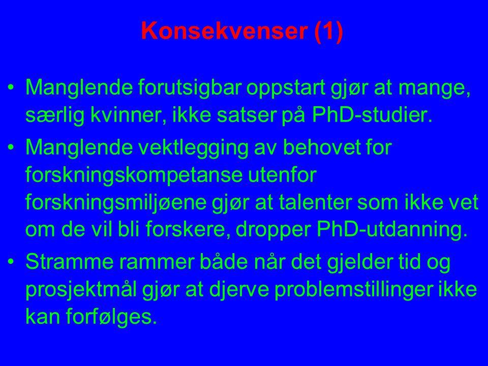 Konsekvenser (1) Manglende forutsigbar oppstart gjør at mange, særlig kvinner, ikke satser på PhD-studier.