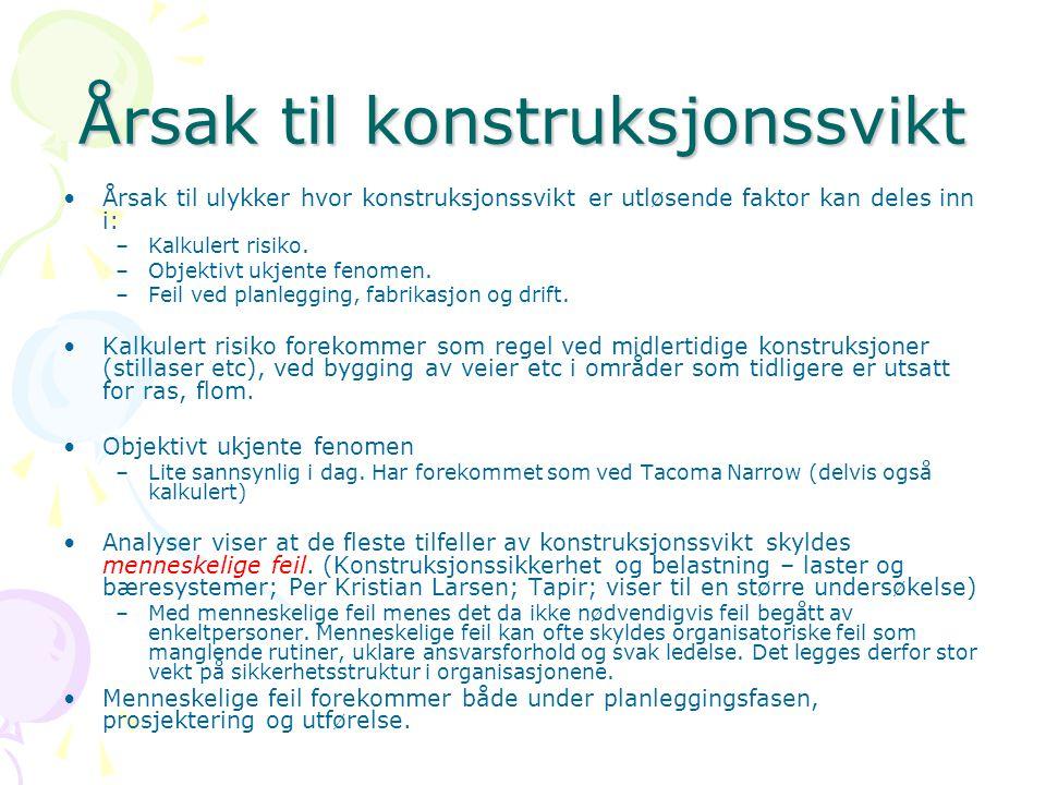 Krav til konstruksjoners pålitelighet For å styre pålitelighetsnivået benyttes i Norge (etter NS 3490) pålitelighetsklasser.