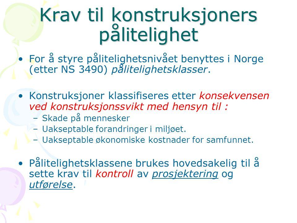 Krav til konstruksjoners pålitelighet For å styre pålitelighetsnivået benyttes i Norge (etter NS 3490) pålitelighetsklasser. Konstruksjoner klassifise