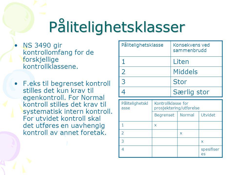 Pålitelighetsklasser NS 3490 gir kontrollomfang for de forskjellige kontrollklassene. F.eks til begrenset kontroll stilles det kun krav til egenkontro