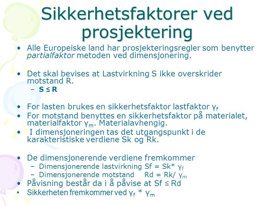 Sikkerhetsfaktorer ved prosjektering Alle Europeiske land har prosjekteringsregler som benytter partialfaktor metoden ved dimensjonering. Det skal bev