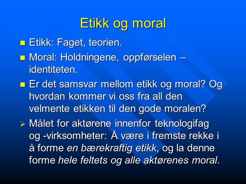 Etikk og moral Etikk: Faget, teorien. Etikk: Faget, teorien. Moral: Holdningene, oppførselen – identiteten. Moral: Holdningene, oppførselen – identite