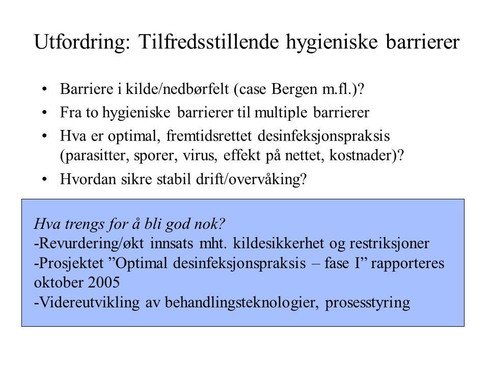 Utfordring: Tilfredsstillende hygieniske barrierer Barriere i kilde/nedbørfelt (case Bergen m.fl.)? Fra to hygieniske barrierer til multiple barrierer