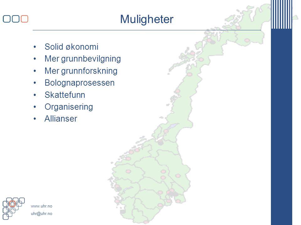 www.uhr.no uhr@uhr.no Veivalg Loven av 2005 - autonomi Stjernø Handlingsrom Drift mot universitetsstatus Finansieringsmodell Internasjonal konkurranse