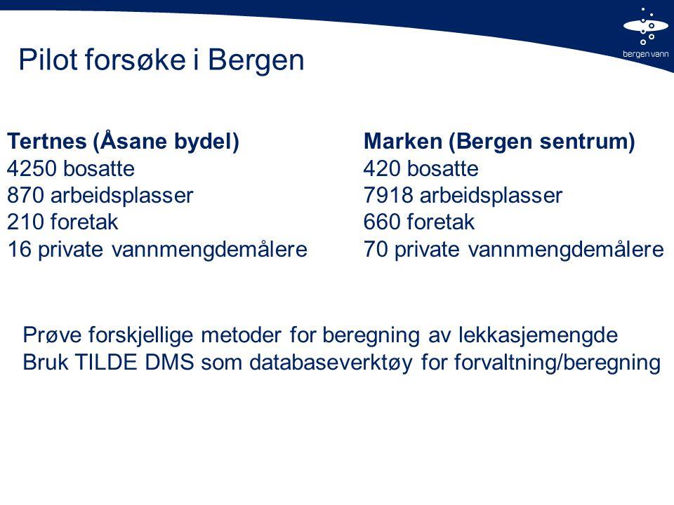 Pilot forsøke i Bergen Tertnes (Åsane bydel) 4250 bosatte 870 arbeidsplasser 210 foretak 16 private vannmengdemålere Marken (Bergen sentrum) 420 bosatte 7918 arbeidsplasser 660 foretak 70 private vannmengdemålere Prøve forskjellige metoder for beregning av lekkasjemengde Bruk TILDE DMS som databaseverktøy for forvaltning/beregning