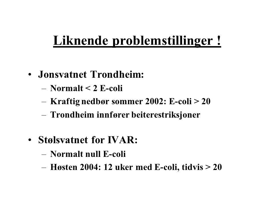 Liknende problemstillinger ! Jonsvatnet Trondheim: –Normalt < 2 E-coli –Kraftig nedbør sommer 2002: E-coli > 20 –Trondheim innfører beiterestriksjoner
