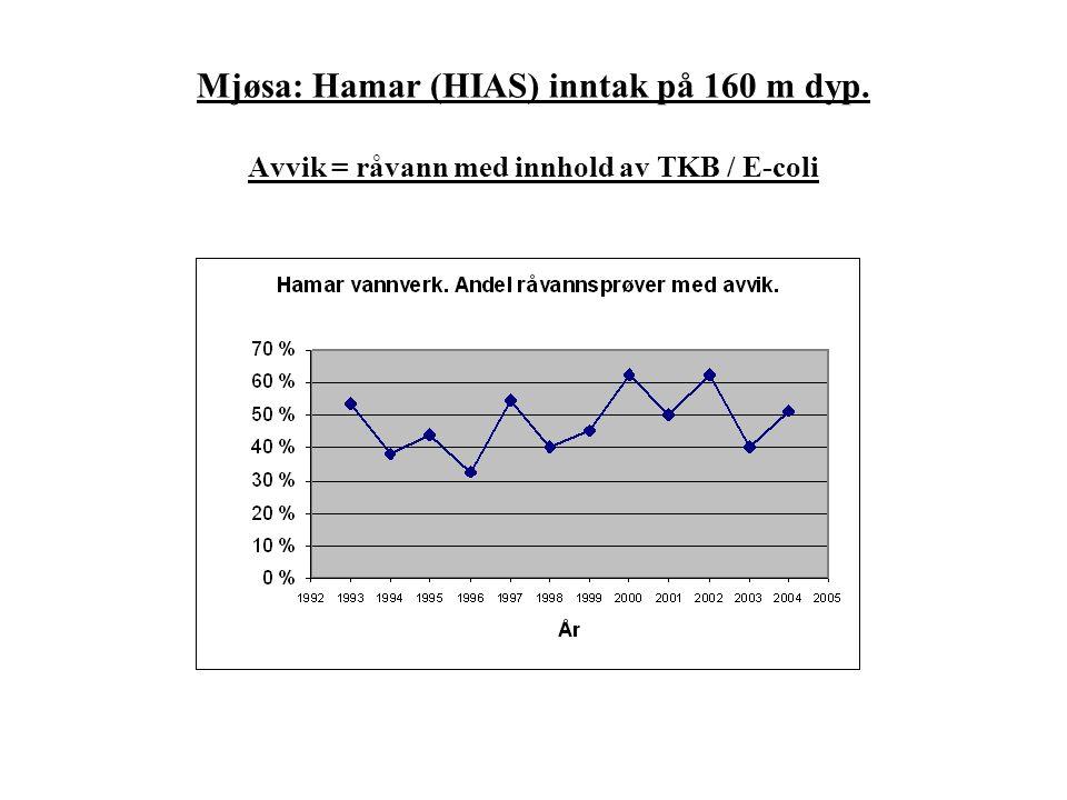 Mjøsa: Hamar (HIAS) inntak på 160 m dyp. Avvik = råvann med innhold av TKB / E-coli