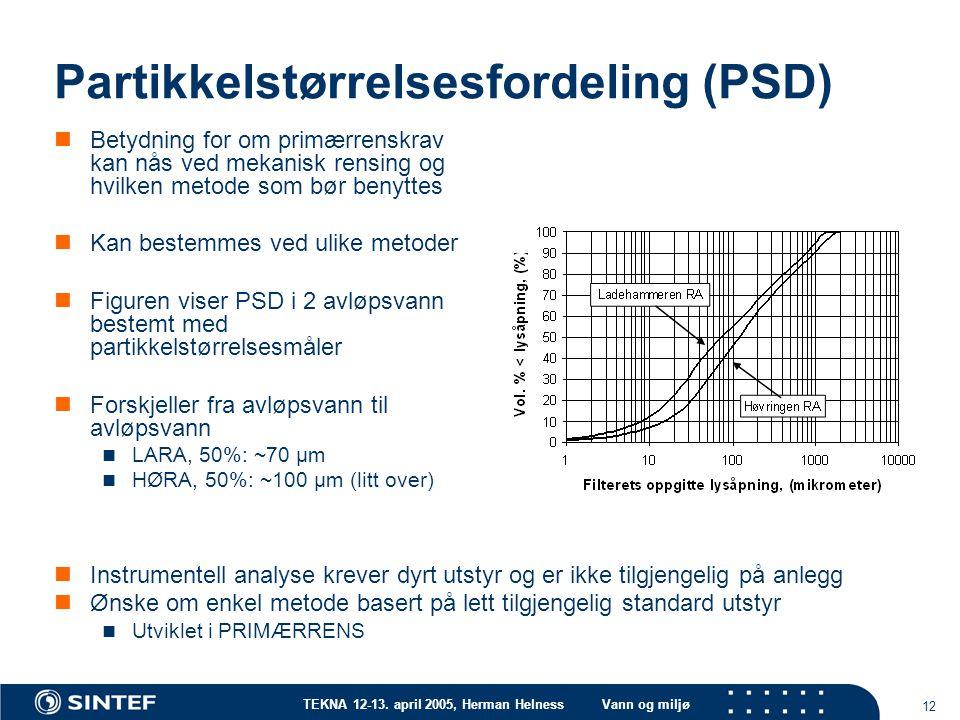 TEKNA 12-13. april 2005, Herman HelnessVann og miljø 12 Partikkelstørrelsesfordeling (PSD) Betydning for om primærrenskrav kan nås ved mekanisk rensin