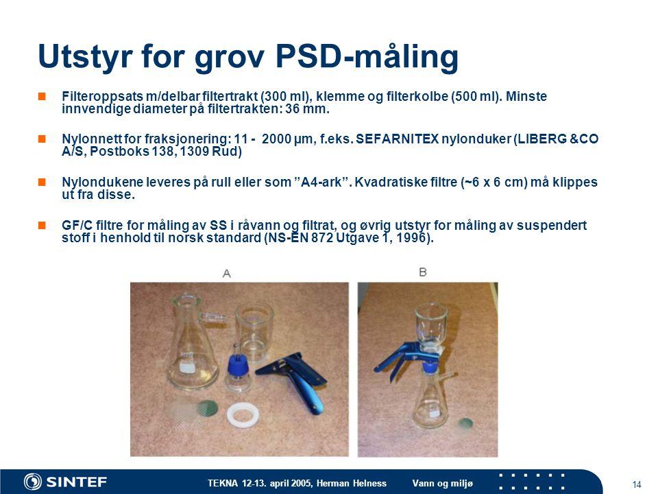 TEKNA 12-13. april 2005, Herman HelnessVann og miljø 14 Utstyr for grov PSD-måling Filteroppsats m/delbar filtertrakt (300 ml), klemme og filterkolbe