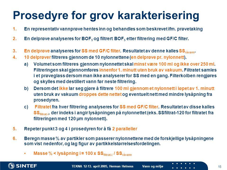 TEKNA 12-13. april 2005, Herman HelnessVann og miljø 15 Prosedyre for grov karakterisering 1.En representativ vannprøve hentes inn og behandles som be