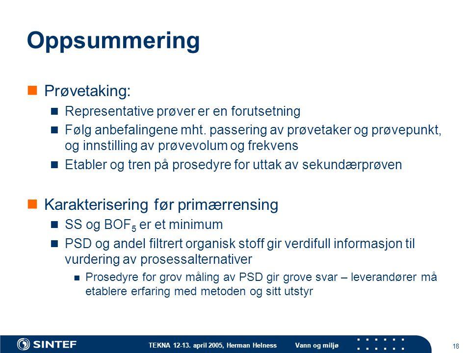 TEKNA 12-13. april 2005, Herman HelnessVann og miljø 18 Oppsummering Prøvetaking: Representative prøver er en forutsetning Følg anbefalingene mht. pas