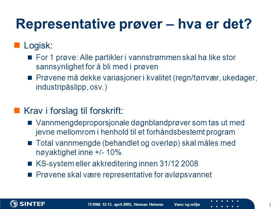 TEKNA 12-13. april 2005, Herman HelnessVann og miljø 3 Representative prøver – hva er det? Logisk: For 1 prøve: Alle partikler i vannstrømmen skal ha