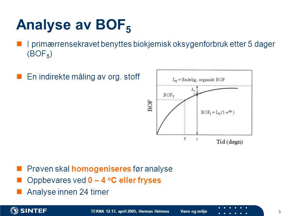 TEKNA 12-13. april 2005, Herman HelnessVann og miljø 9 Analyse av BOF 5 I primærrensekravet benyttes biokjemisk oksygenforbruk etter 5 dager (BOF 5 )