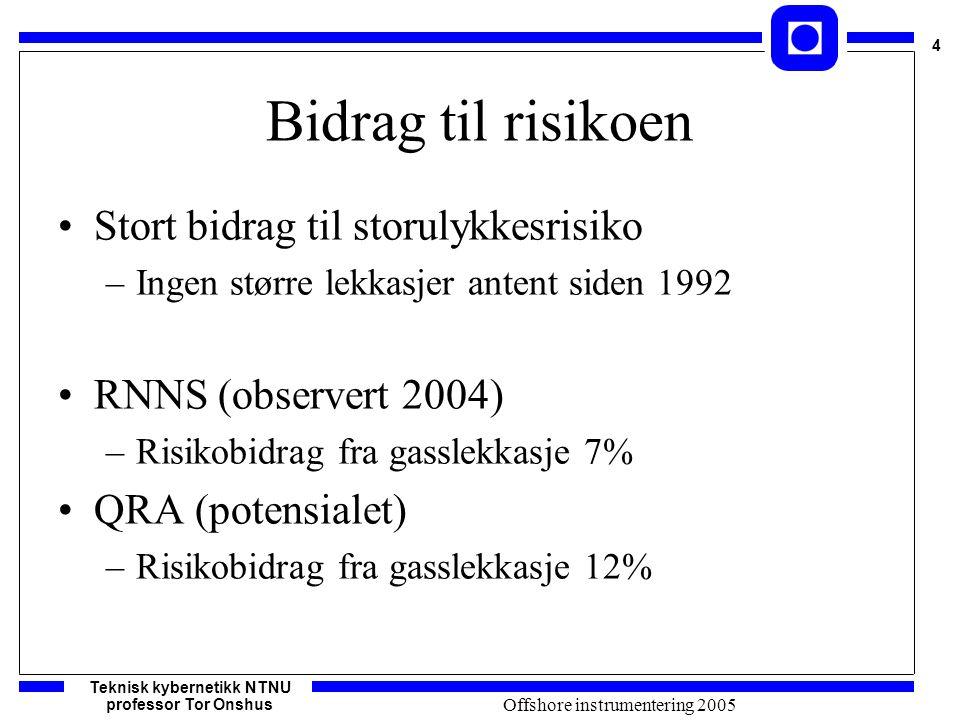 Teknisk kybernetikk NTNU professor Tor Onshus 4 Offshore instrumentering 2005 Bidrag til risikoen Stort bidrag til storulykkesrisiko –Ingen større lek