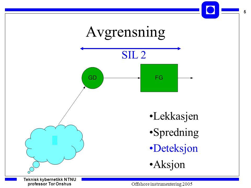 Teknisk kybernetikk NTNU professor Tor Onshus 5 Offshore instrumentering 2005 Avgrensning Lekkasjen Spredning Deteksjon Aksjon SIL 2